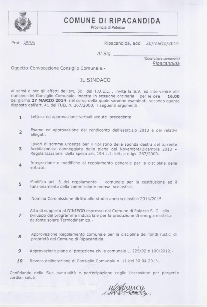 Convocazione Consiglio Comunale (27-32014)