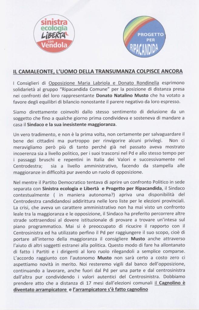 Volantino Consiglieri LABRIOLA e RONDINELLA